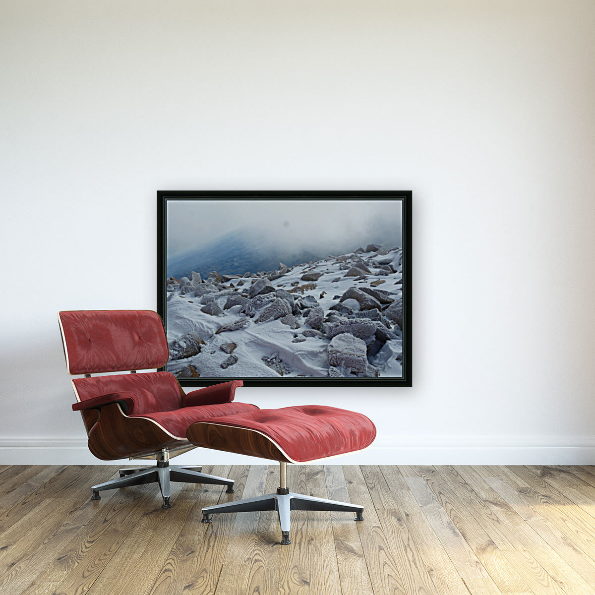 Mountainside with Snow-covered Rocks  Art