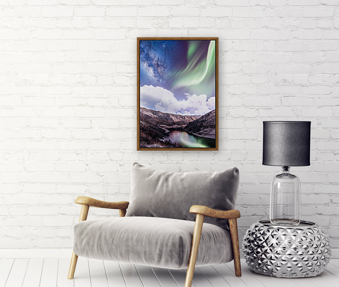 Aurora Borealis And Milky Way with Floating Frame