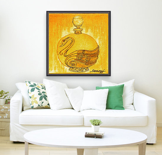 Bottled Gold Swan  Art