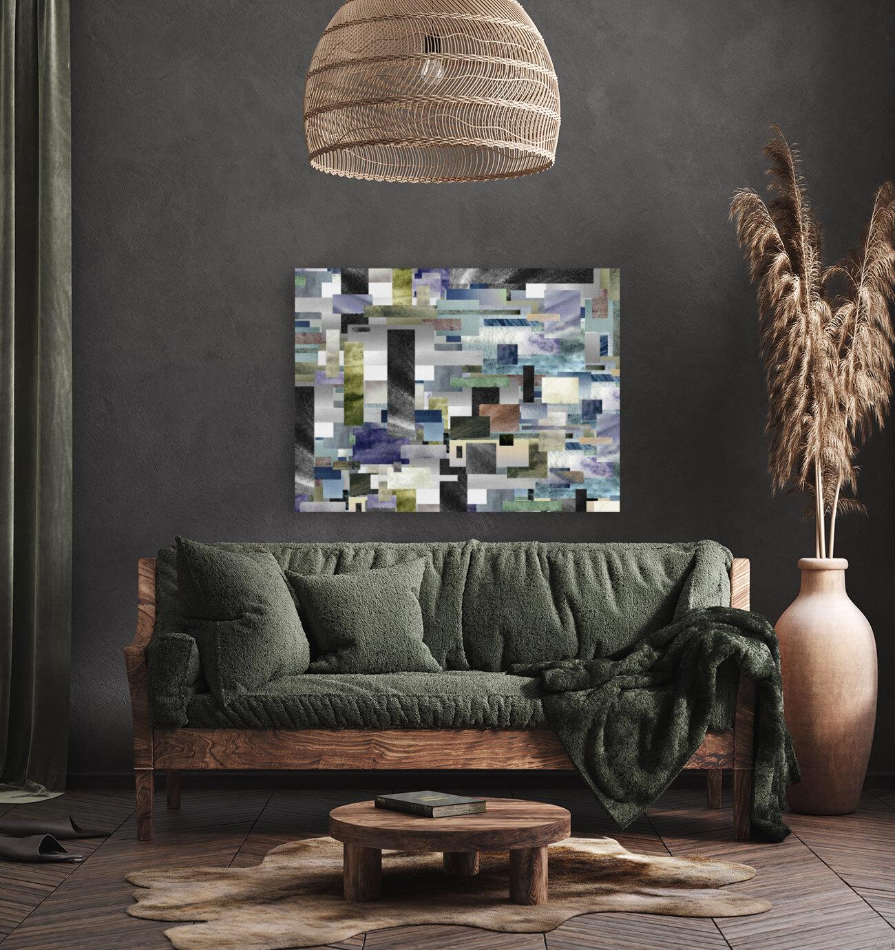 Gray Geometry Watercolor Geometrics Decorative Blocks XIV  Art