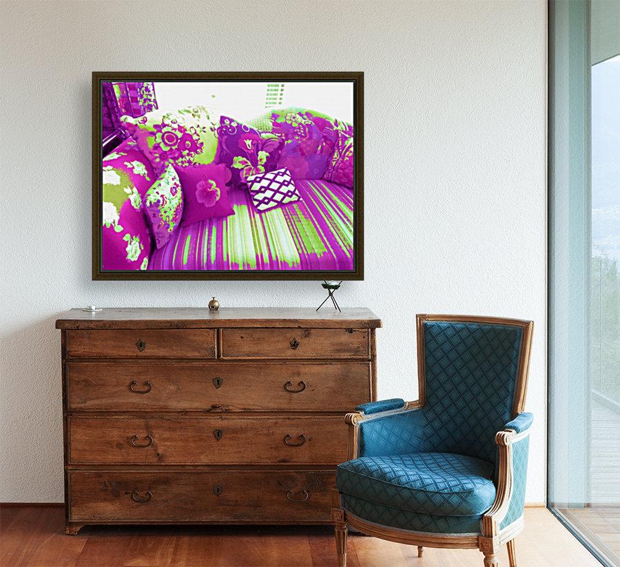 Sofa & Pillows -- Purple & Green  Art