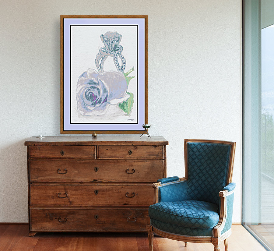 Blue Bud in Frame with Floating Frame