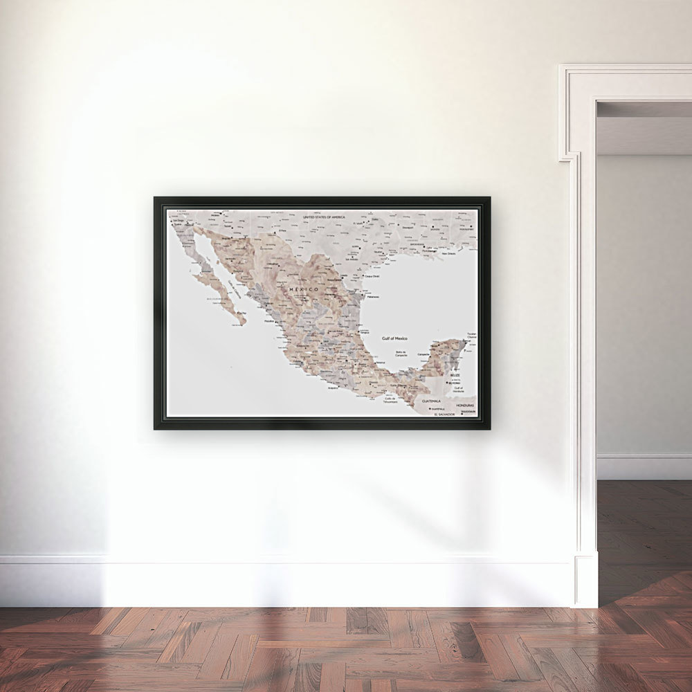 Detailed map of Mexico in neutral watercolor  Art