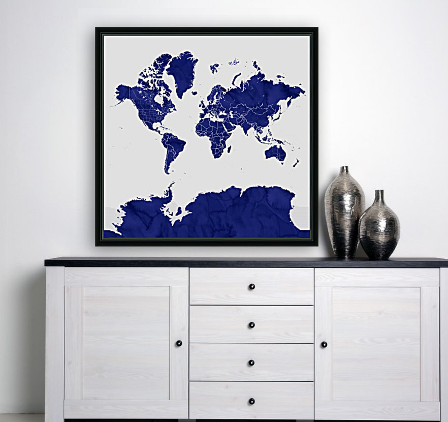 navy blue world map with outlined countries  Art