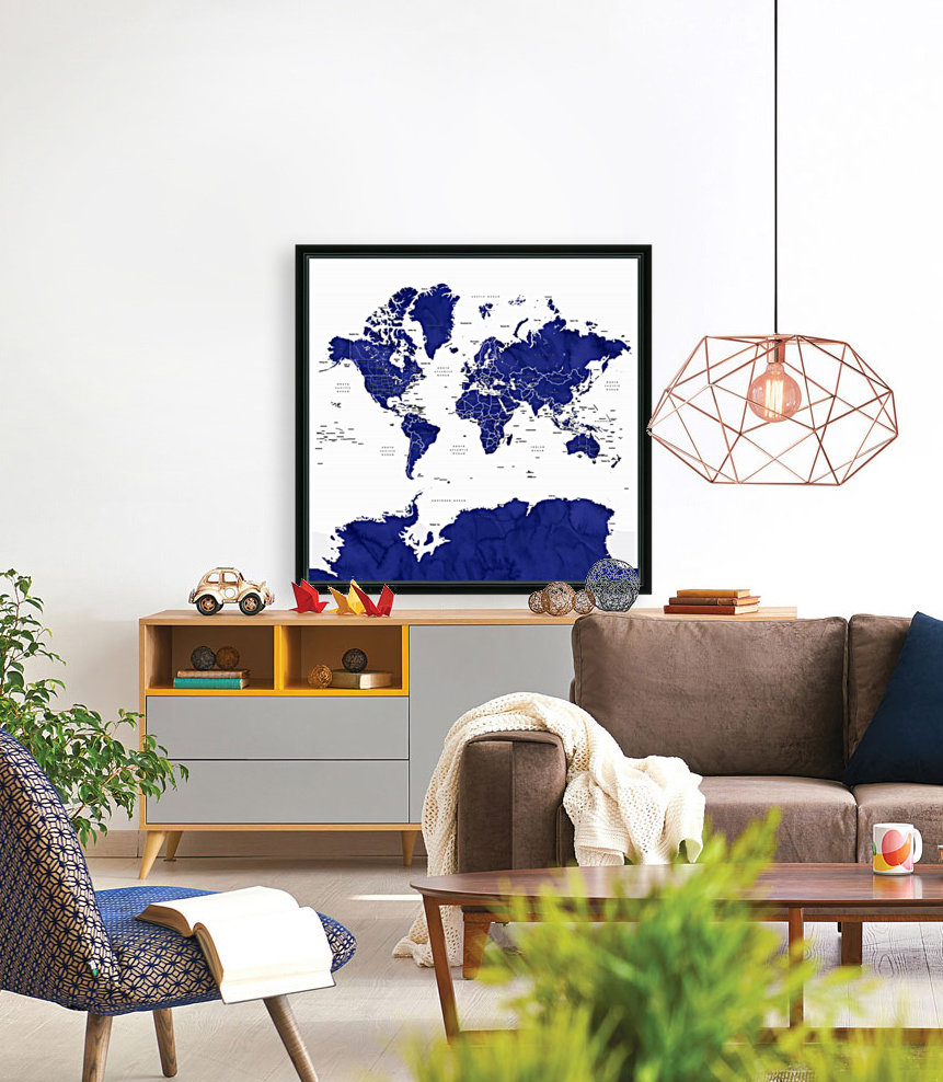 Navy blue watercolor world map with countries and states labelled  Art
