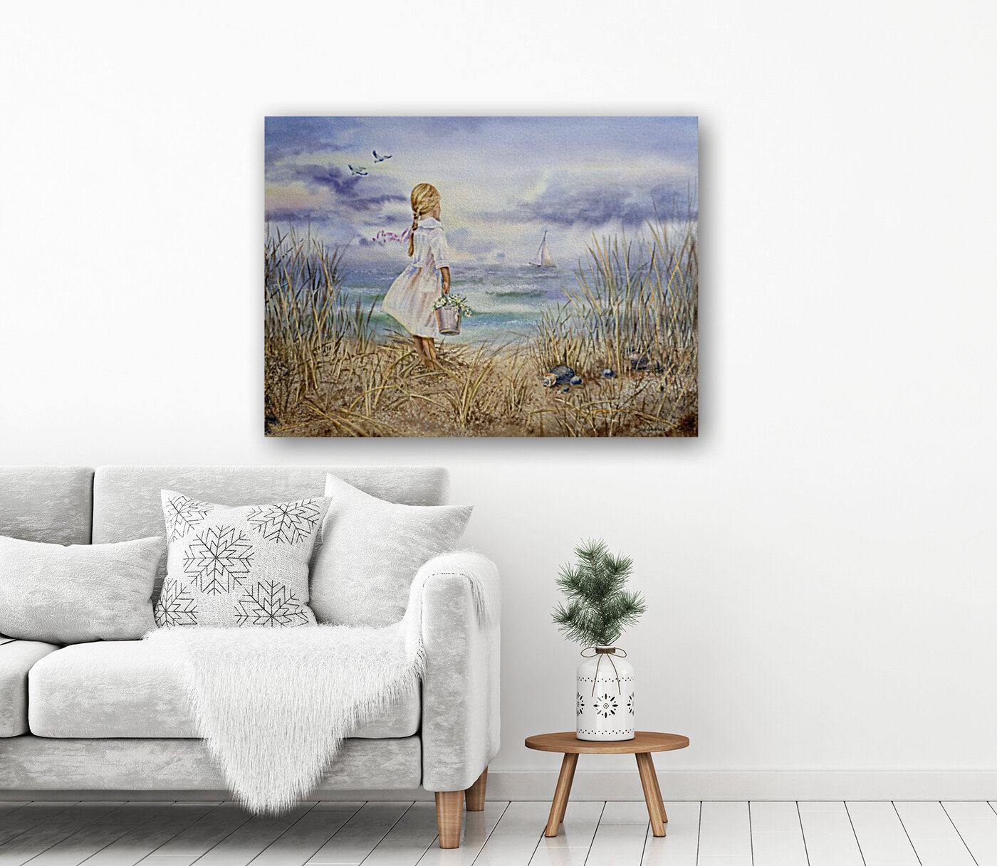 Girl Standing At The Ocean Watching Sailboat and Birds  Art