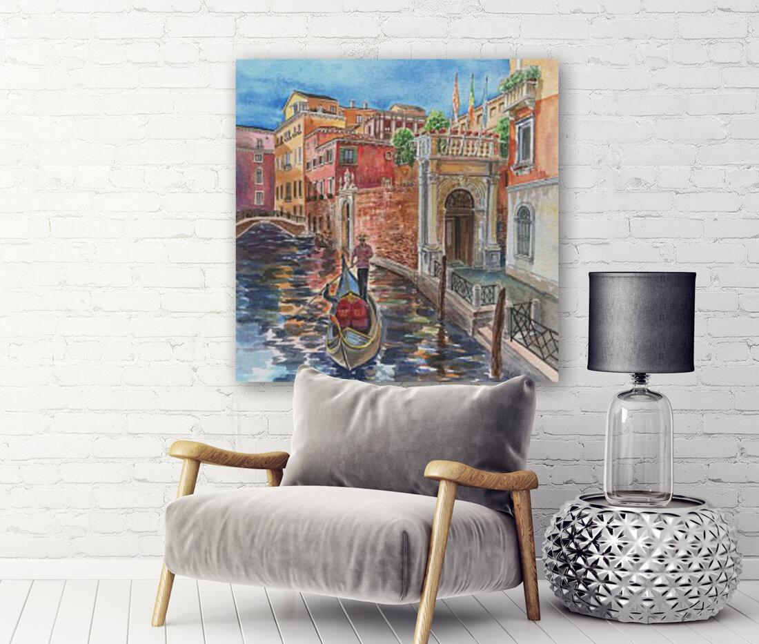 Venice Canal And Gondolier Italian City Landscape   Art