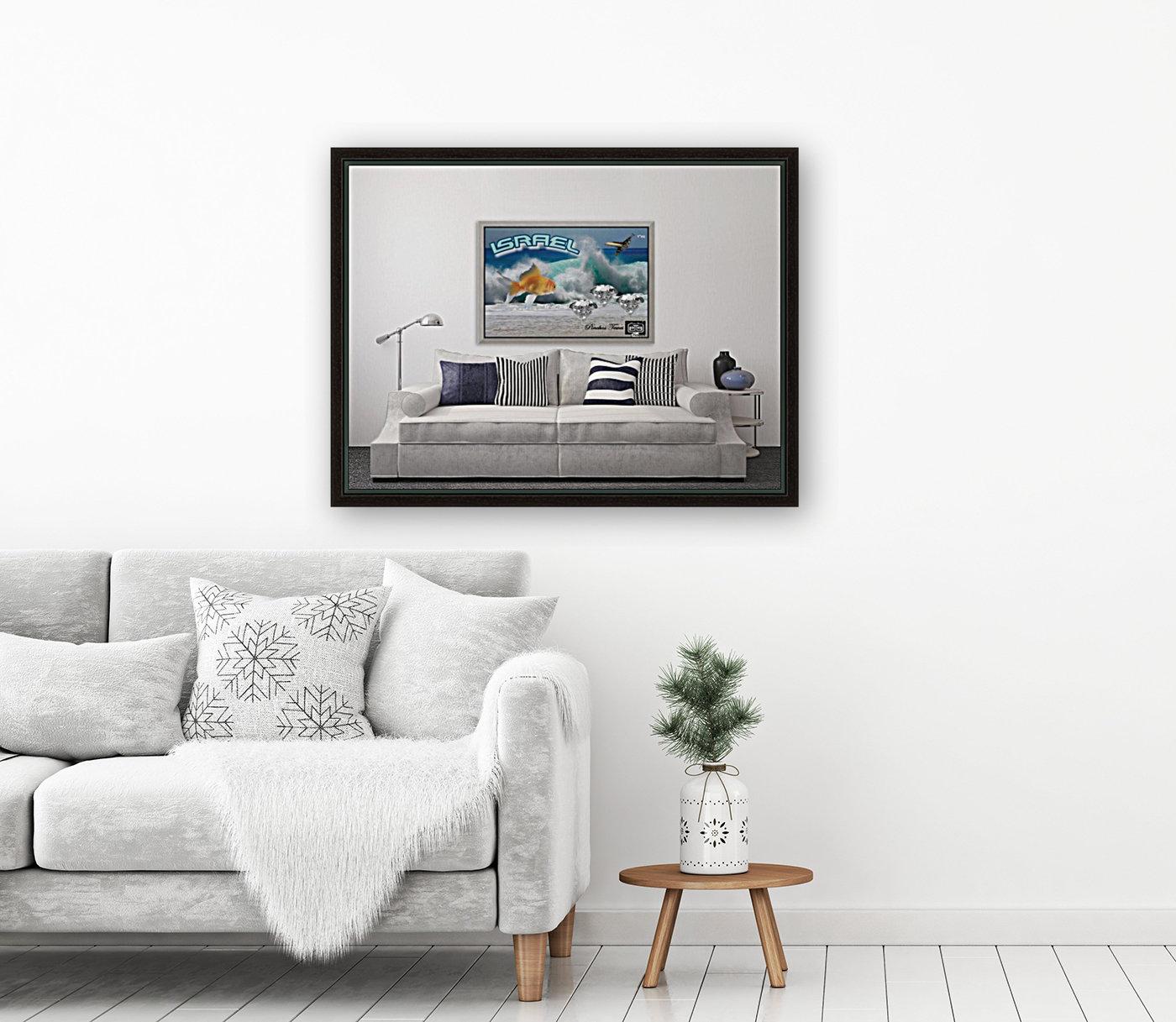 monogram art   israel ocean 1 FOR DSPLAY ONLY in room setting  Art