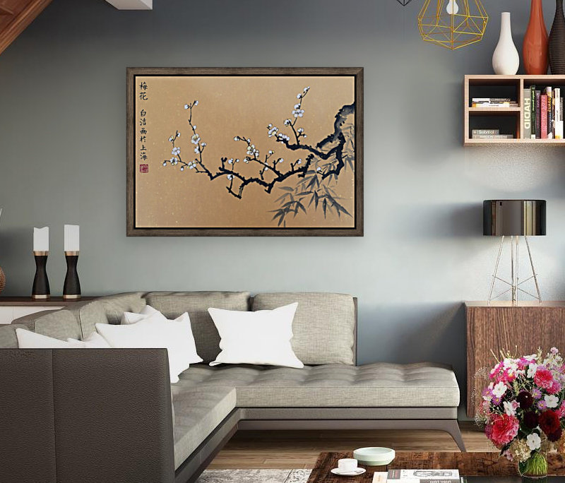 White Plum Blossom With Bamboo  Art