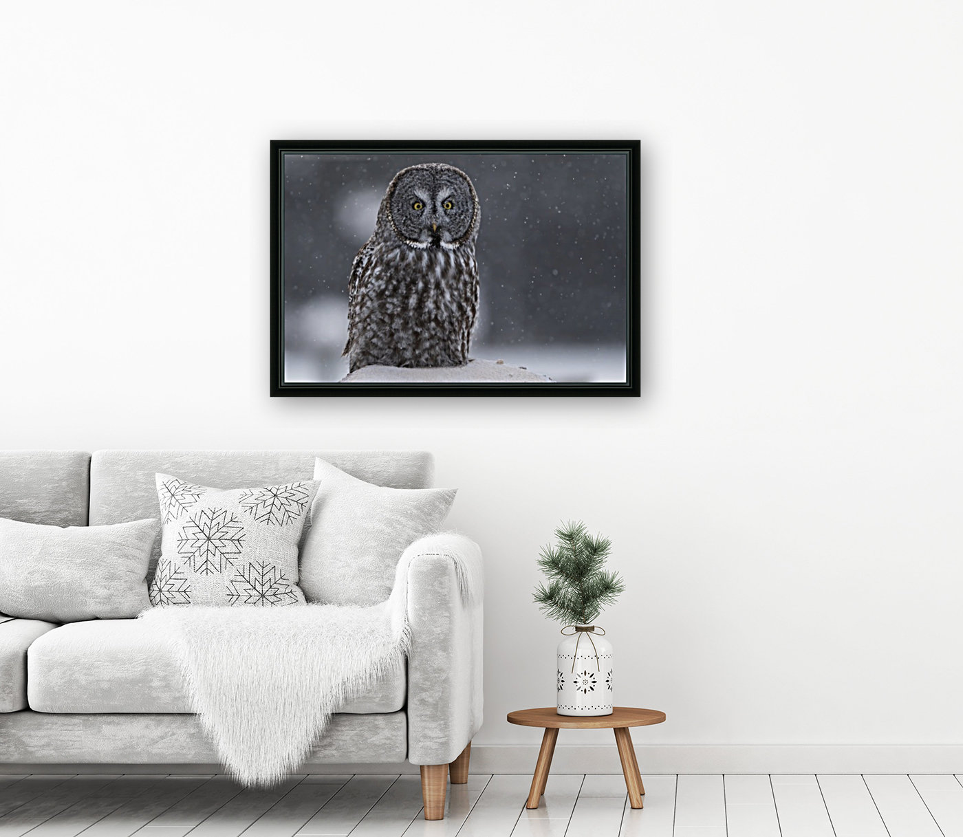 Great Grey Owl - Hunting at Sunset  Art