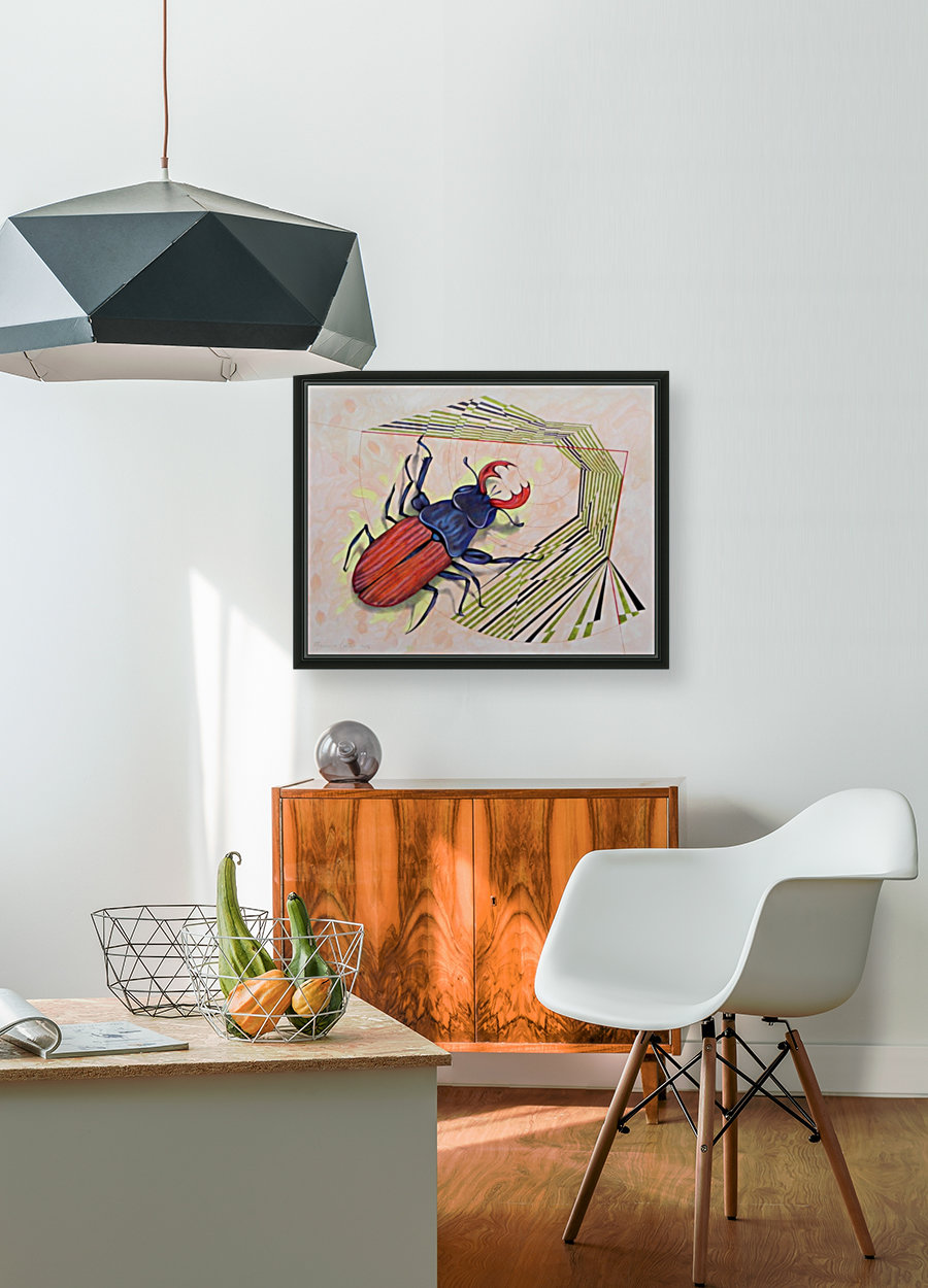 stag beetle with Floating Frame
