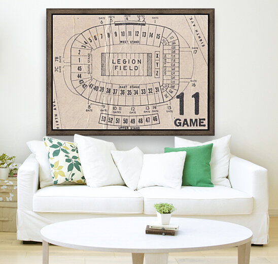 Legion Field Stadium Map Art_Vintage College Football Map Art  Art
