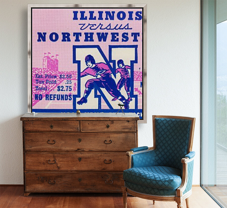 1937_College Football Collection_Northwestern vs. Illinois_Historic Dyche Stadium Evanston_Ticket  Art