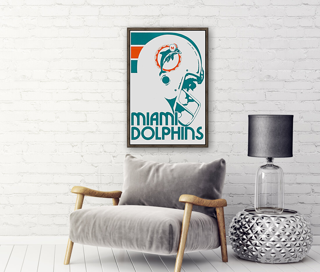 National Football League_Retro Miami Dolphins 1970s Art Reproduction with Floating Frame