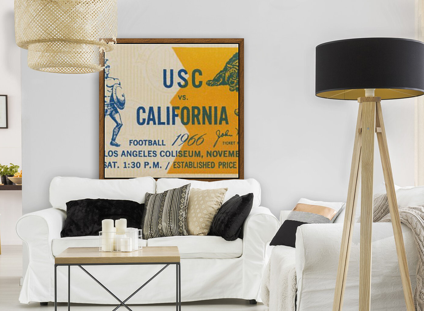 College Football Ticket Stub Collection_1966 USC vs. California Football Ticket Art Row One Brand (1)  Art