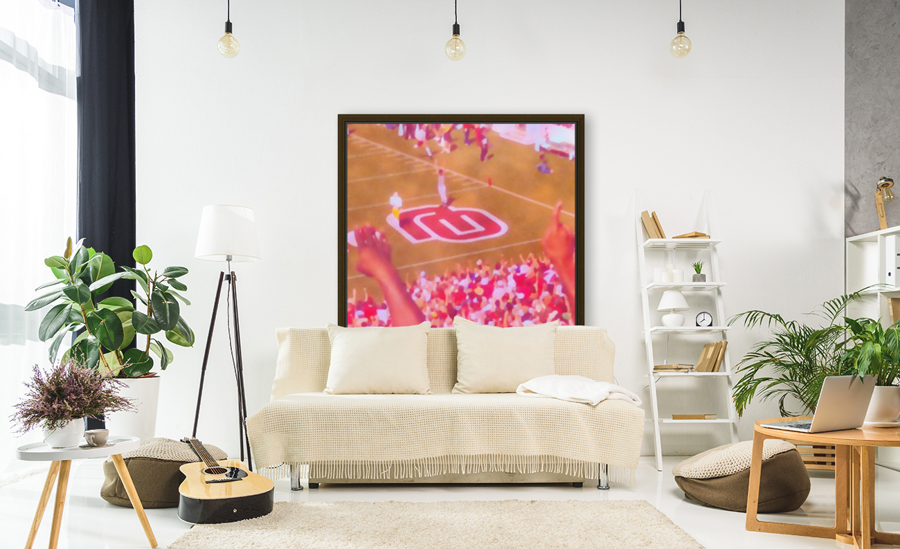Oklahoma Football Art Owen Field OU Sooners Touchdown Art_Watercolor Style Retro 1980s Sports Art  Art