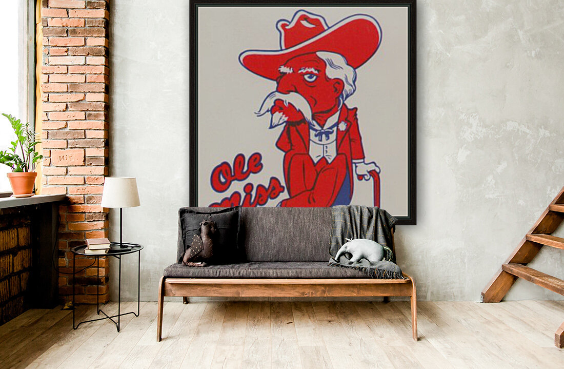 1975 College Mascot Art Reproduction University of Mississippi Ole Miss Rebels_Colonel Reb Art (1)  Art