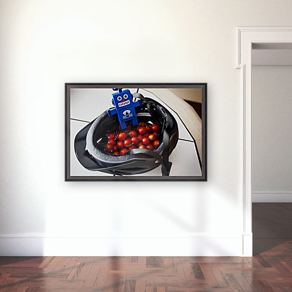 Robot Bike Helmet Tomatoes  Art