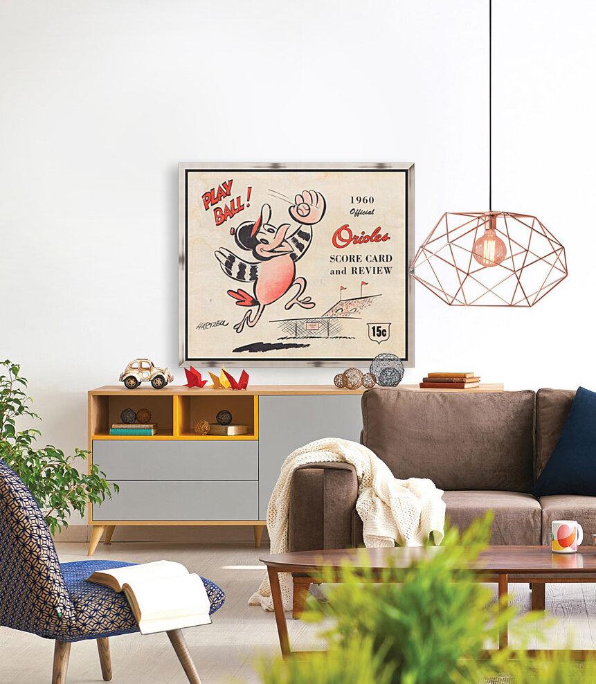 1960 baltimore orioles baseball score card art baseball poster  Art