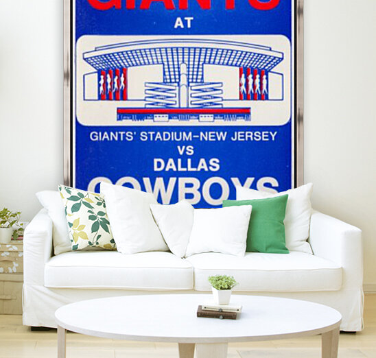 1976 dallas cowboys new york giants nfl ticket stub poster art reproduction football wall artwork  Art