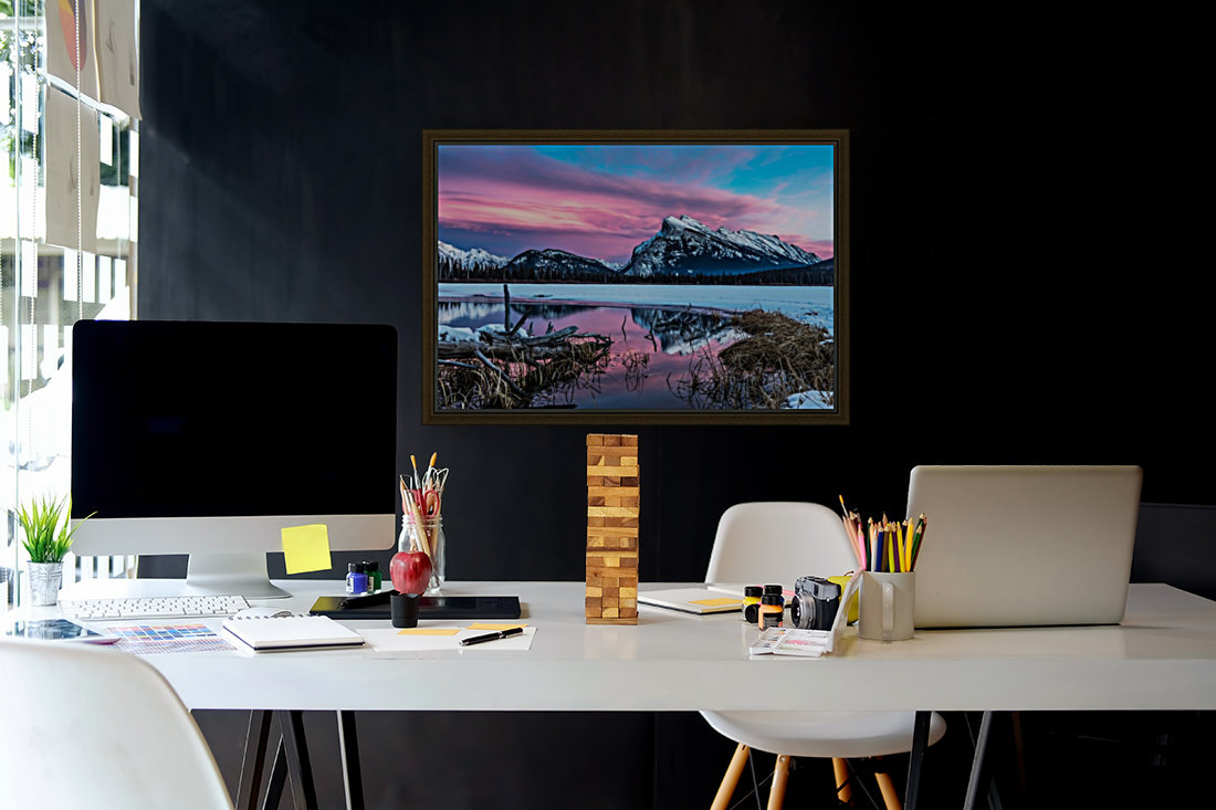 Rundle Mountain Sunset Banff National Park  Art