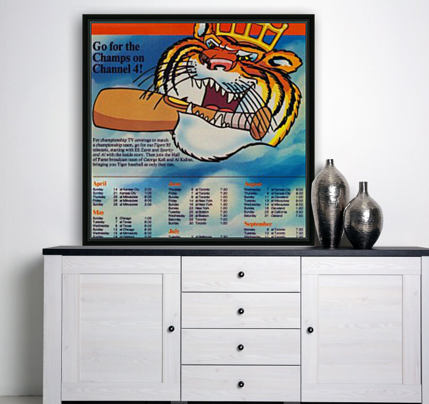 1985 detroit tigers bless you boys channel 4 wvid detroit michigan television tv ad poster metal art  Art