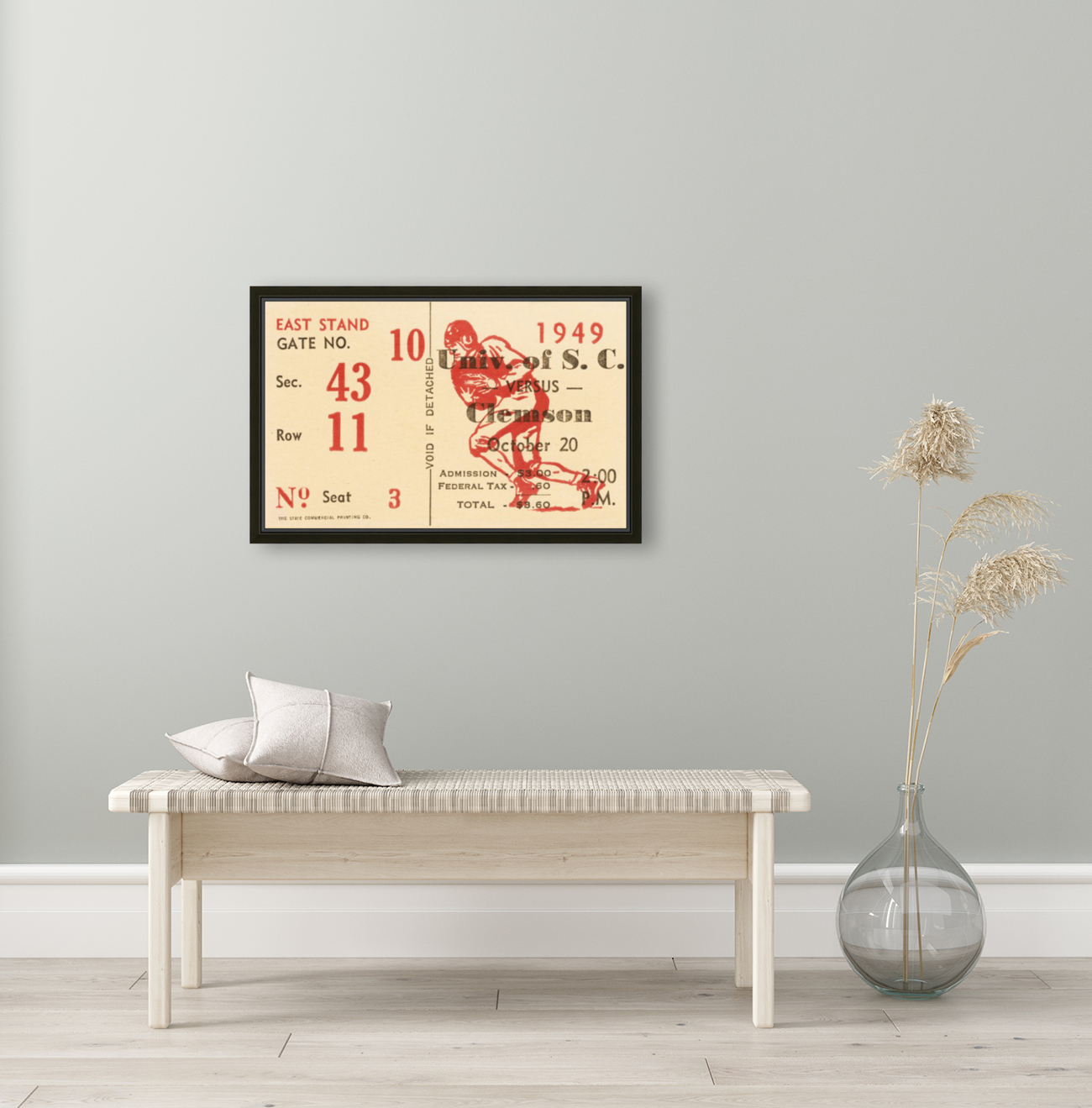 1949 south carolina gamecocks palmetto bowl ticket stub wall art metal sign wood prints with Floating Frame