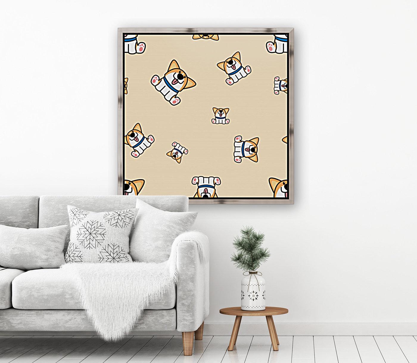 cute welsh corgi puppy sitting seamless pattern  Art