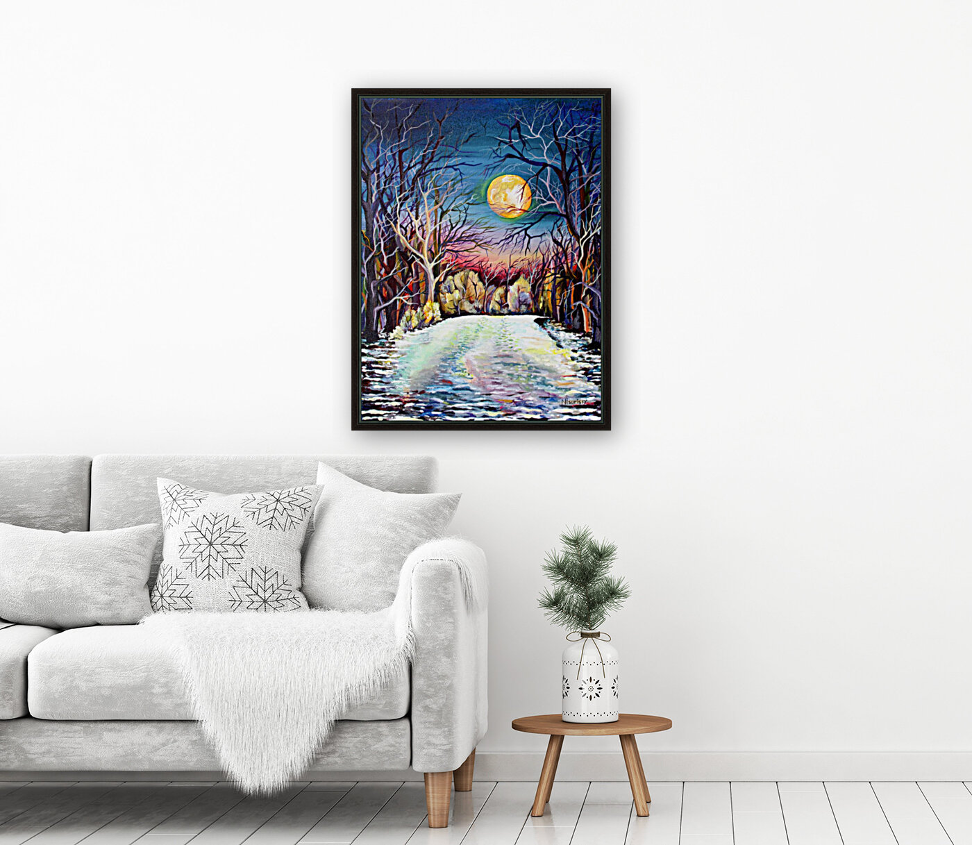 Winter Full Moon Night Landscape Watercolor with Floating Frame
