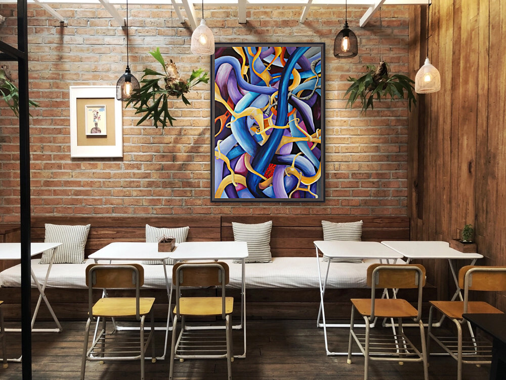 Interlacing Vivid Contemporary Abstract with Floating Frame