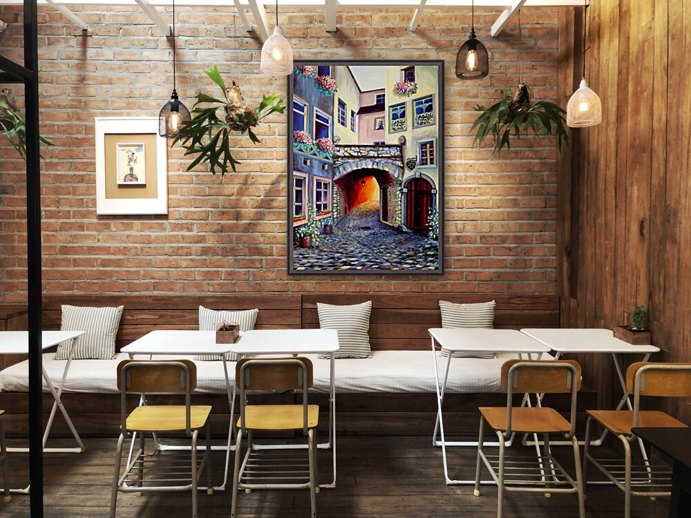 Brussels Cityscape Bohemian Painting  Art