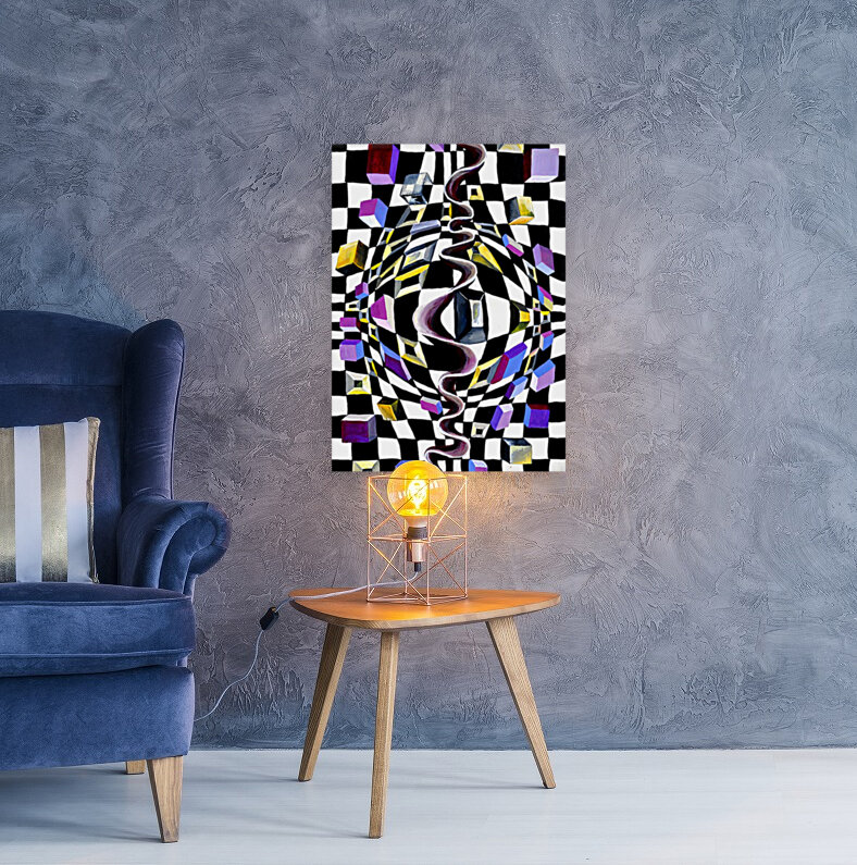 Watercolor Abstract Chess Pattern  Art