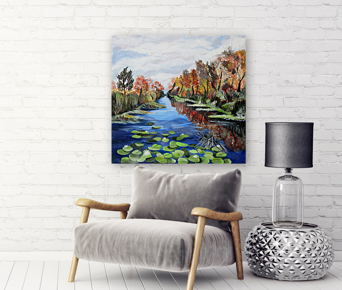 Danube River Watercolor Seascape with Floating Frame