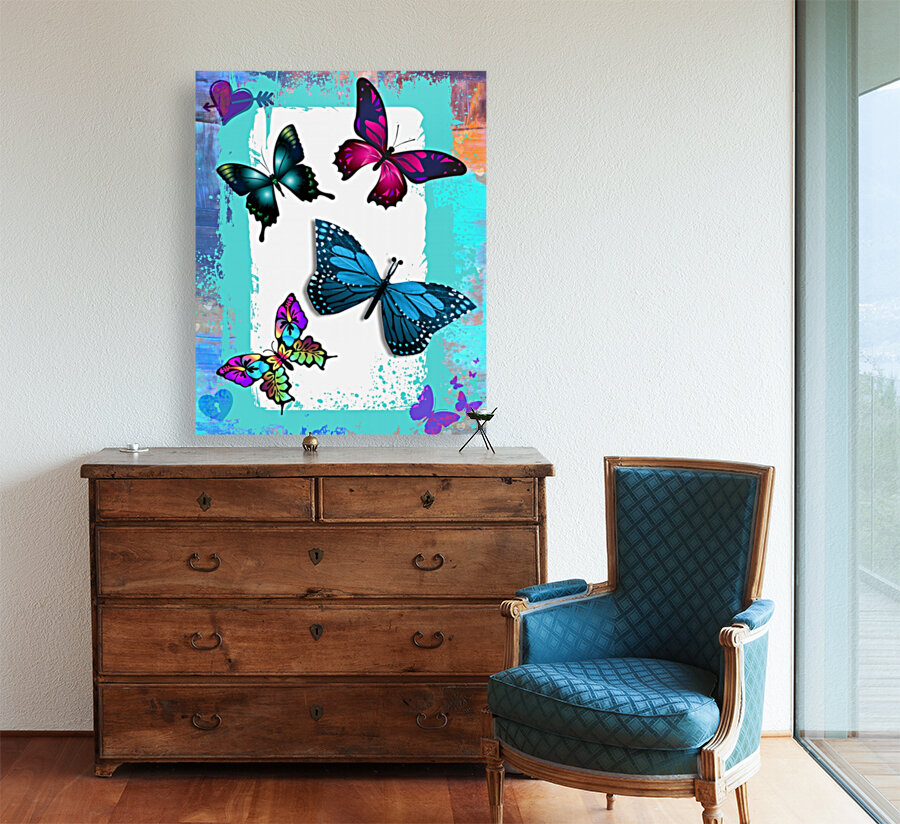 Whimsical Morpho Butterflies in Vivid Colors  Art