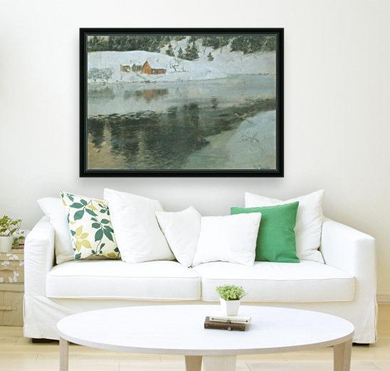 Winter landscape with river  Art