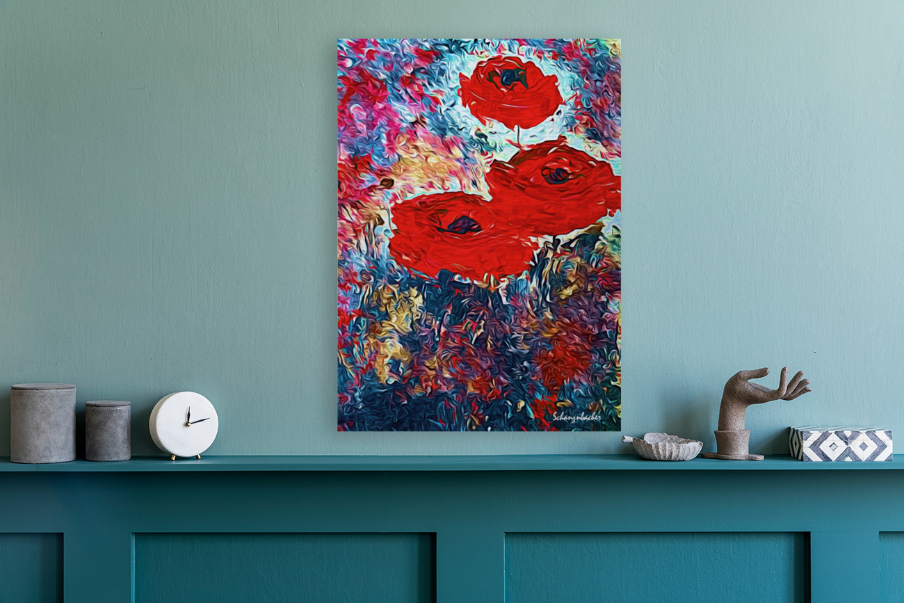 Poppies with Floating Frame