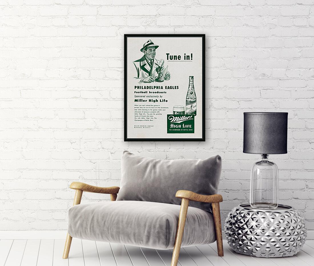 vintage philadelphia eagles miller high life ad poster  Art