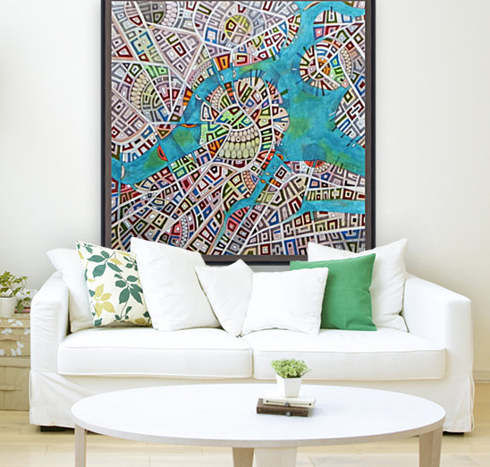 imaginary map of Boston with Floating Frame