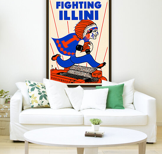 1930 vintage university of illinois fighting illini poster with Floating Frame