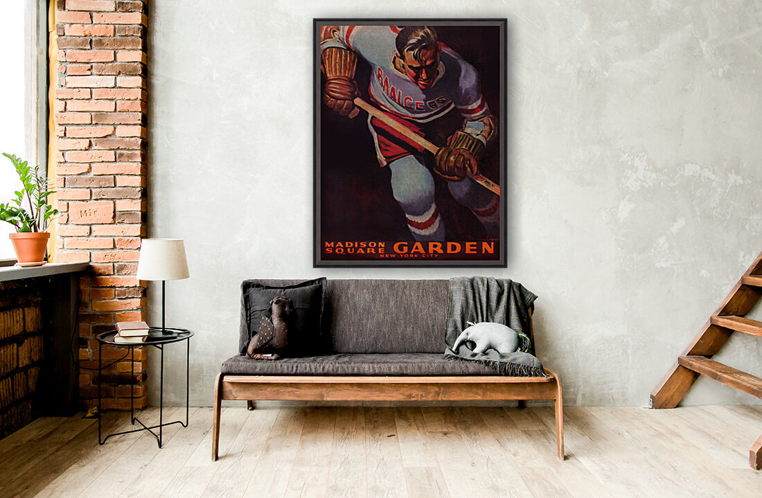 1950 new york rangers nhl hockey madison square garden poster with Floating Frame