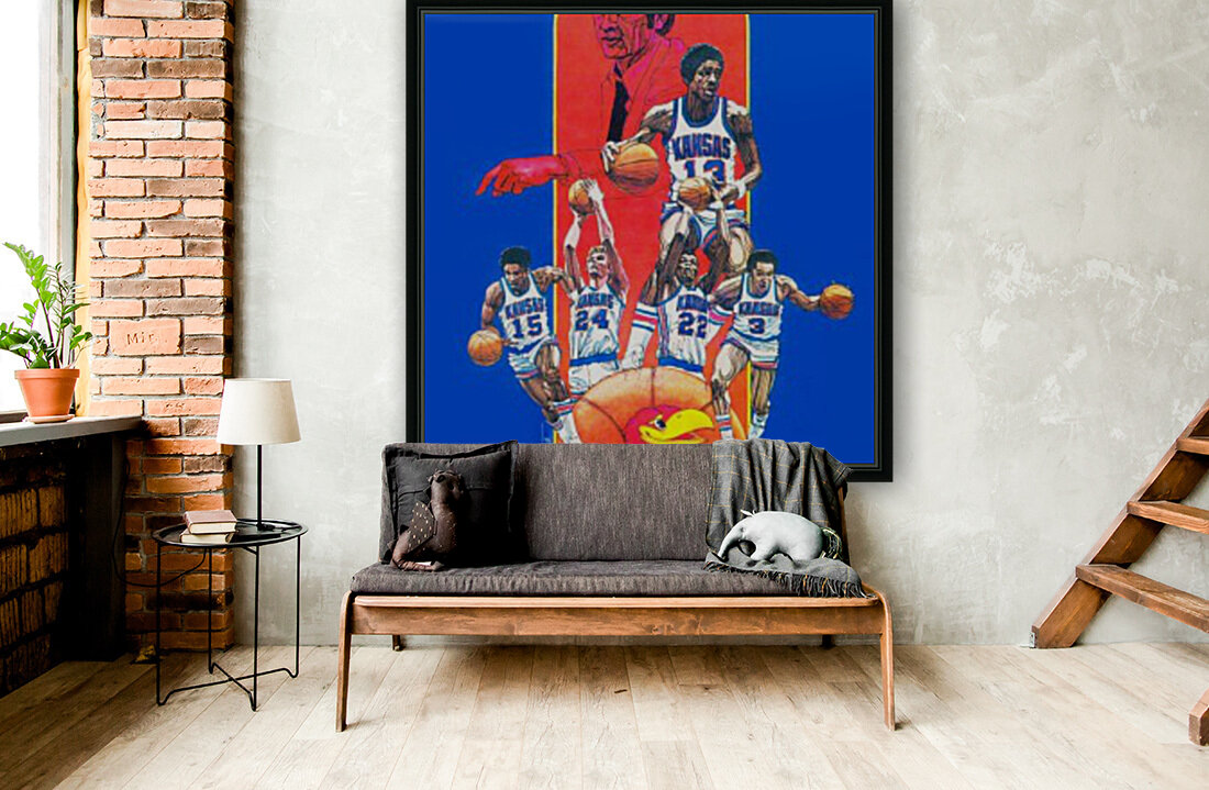 1977 kansas ku jayhawk basketball poster  Art