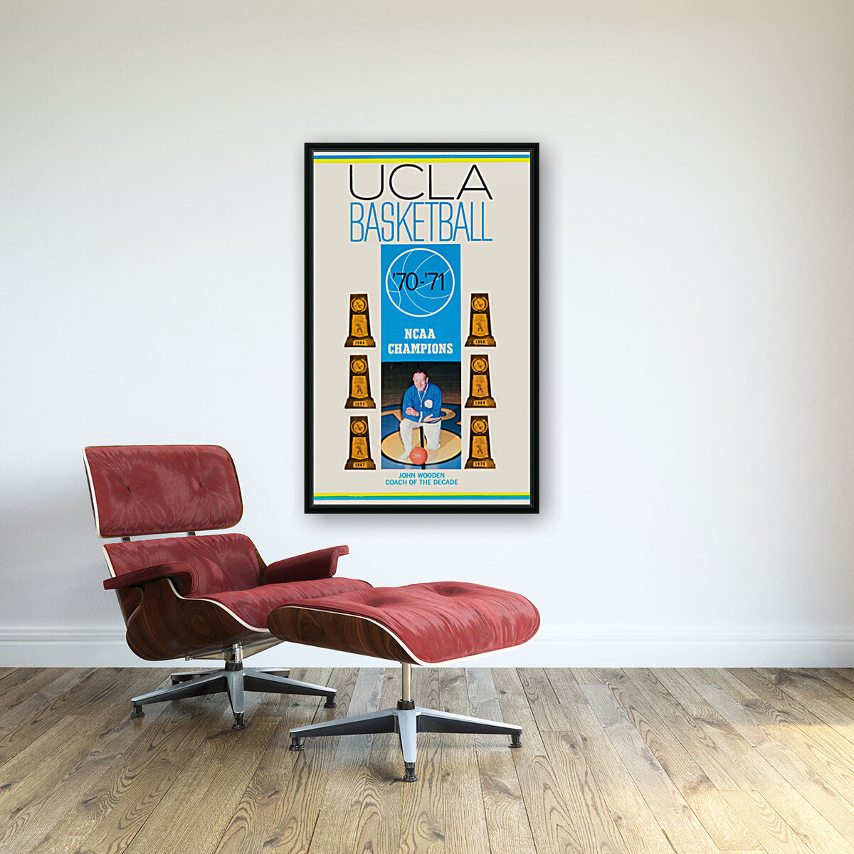 1970 ucla bruins basketball john wooden poster ncaa champions with Floating Frame