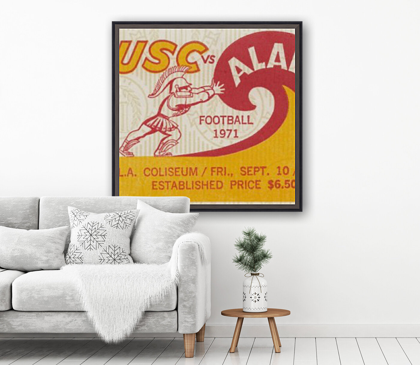 1971 alabama usc trojans football ticket stub prints on wood  Art