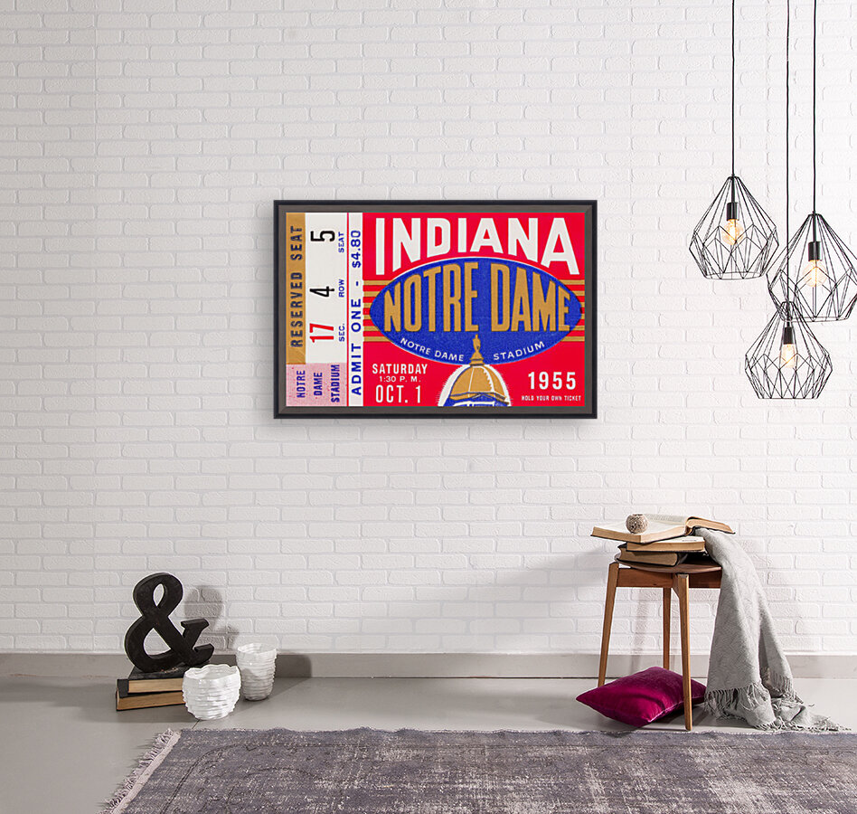 1955 indiana notre dame football ticket stub wall art canvas posters wood  Art