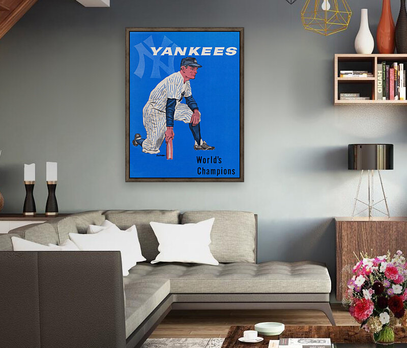1958 New York Yankees Vintage Baseball Art  Art