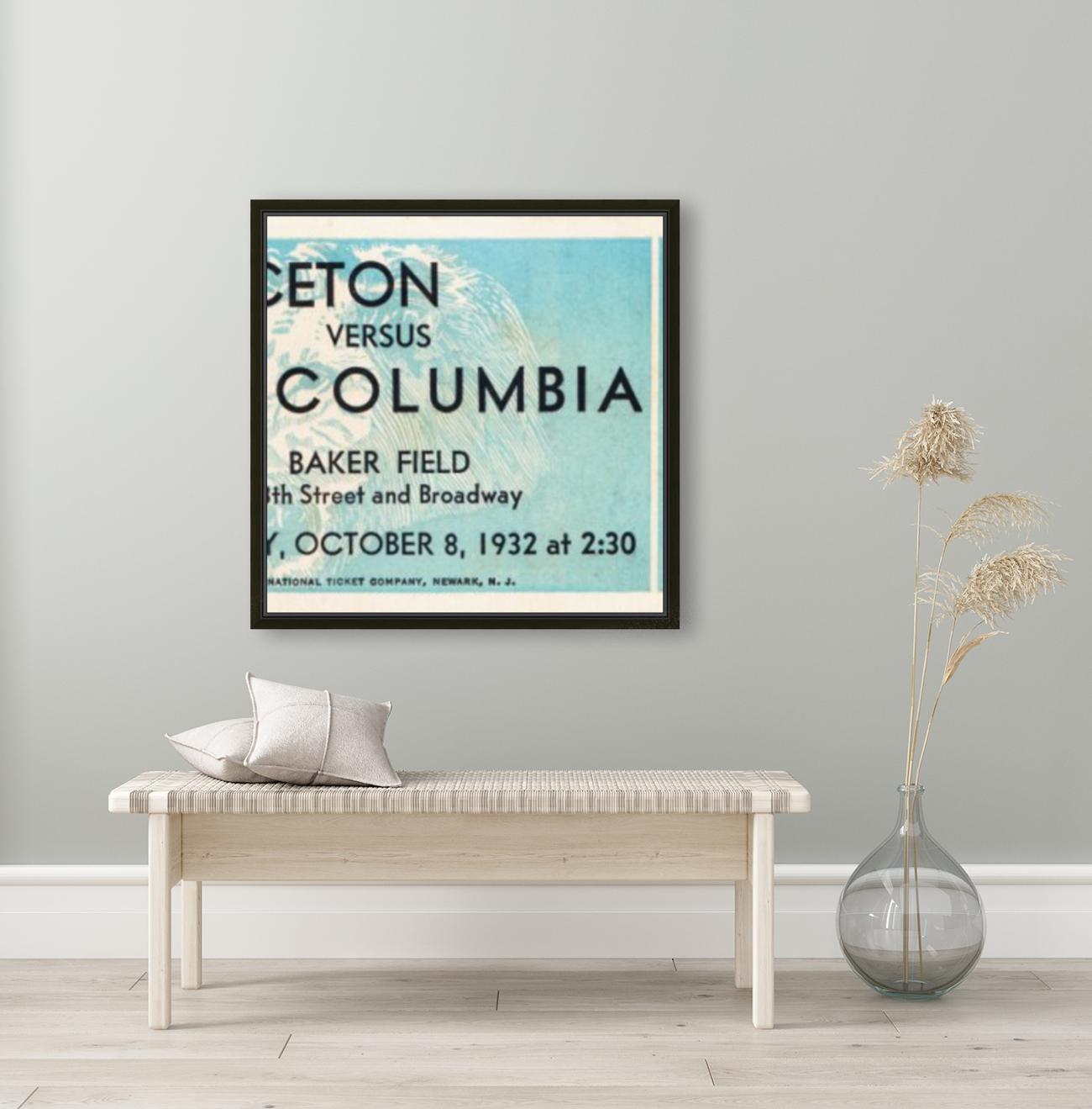 1934 Princeton vs. Columbia Lions Football Ticket Wall Art  Art