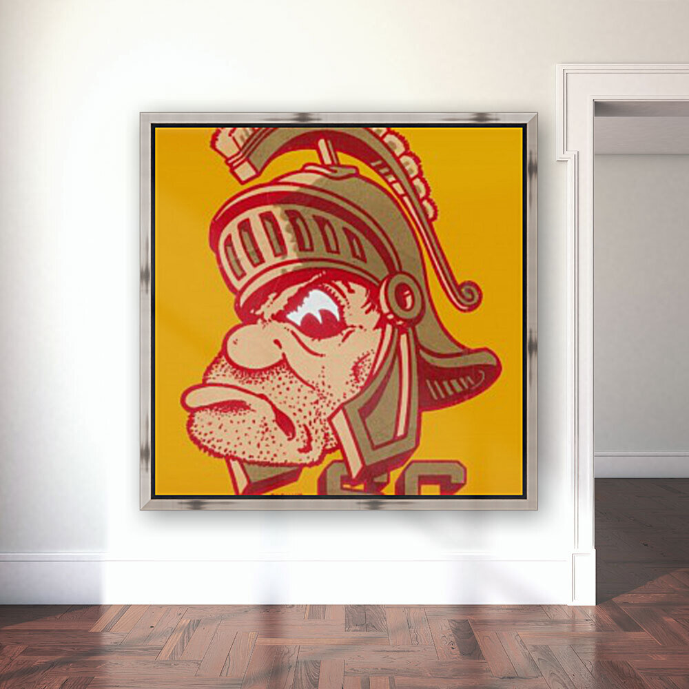 best vintage college mascots usc trojans art print with Floating Frame