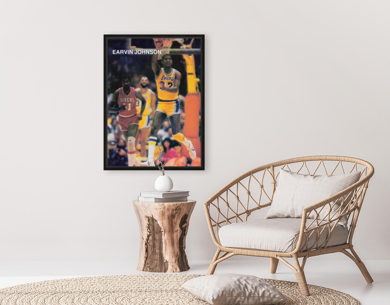 1983 Magic Johnson LA Lakers Retro Poster  Art