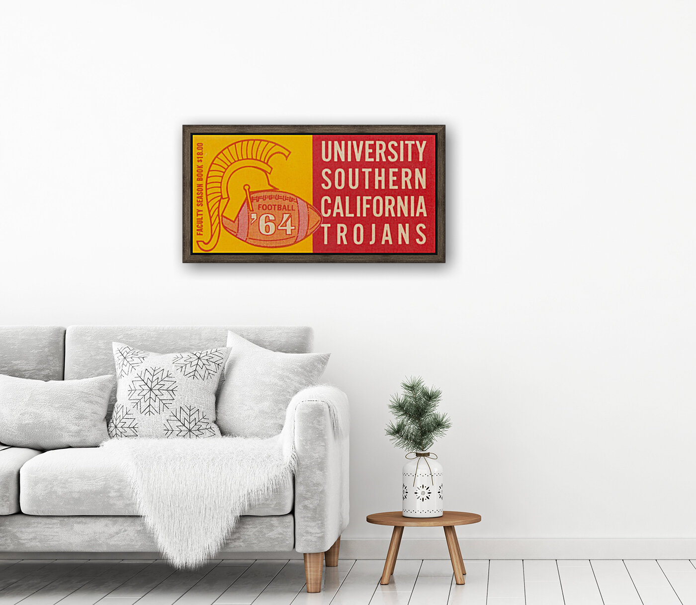 usc university of southern california trojans football art 1964 with Floating Frame