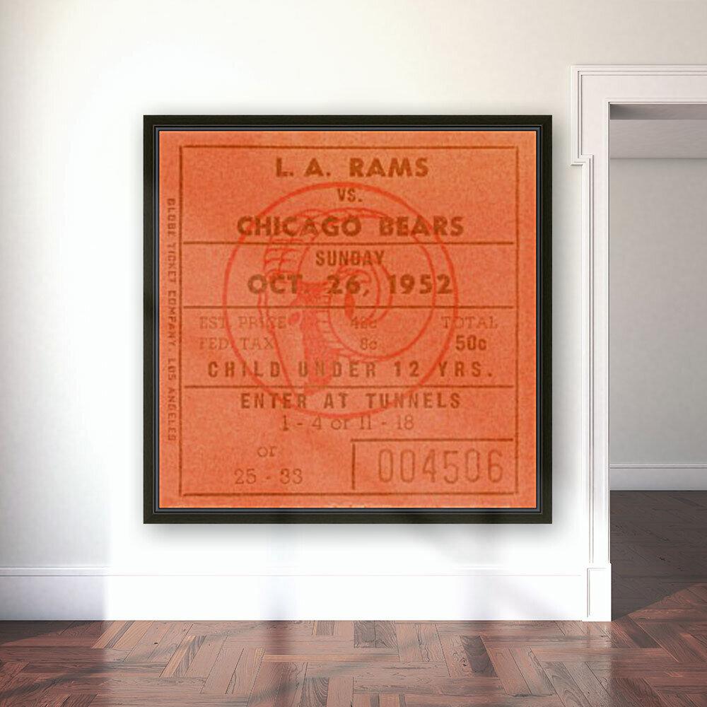 1952 la rams chicago bears nfl ticket art wood print  Art
